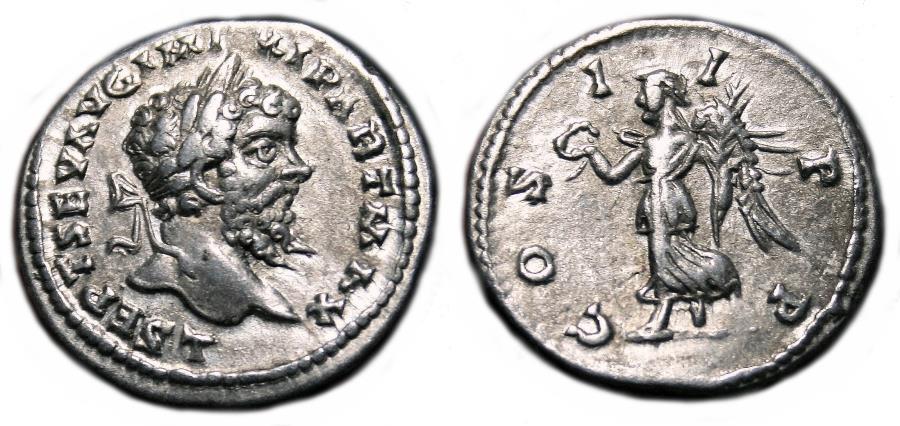 Ancient Coins - SEPTIMIUS SEVERUS AR Denarius. EF-. Laodicea mint. COS II P P.
