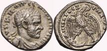 Ancient Coins - MACRINUS AR Tetradrachm. EF-. Antioch mint. Eagle over Leg and Thigh. SCARCE