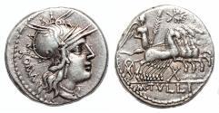Ancient Coins - M. Tullius AR Denarius. EF-. 119 BC. Quadriga - M. TVLLI.