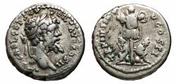 Ancient Coins - SEPTIMIUS SEVERUS AR Denarius. VF+. Emesa mint. TR P III IMP V COS II. Parthian Captives/Trophy. Very scarce!!!