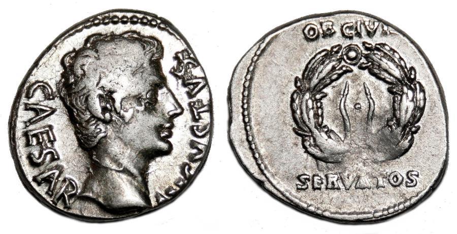 Ancient Coins - AUGUSTUS AR Denarius. EF-. Oak Wreath - OB CIVIS / SERVATOS.