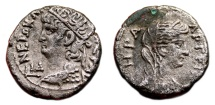 Ancient Coins - NERO Bi Tetradrachm. EF-/VF+. Alexandria mint. HERA - Year 14.
