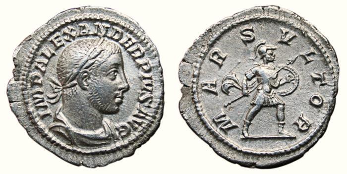 Ancient Coins - SEVERUS ALEXANDER AR Denarius. EF. MARS VLTOR.