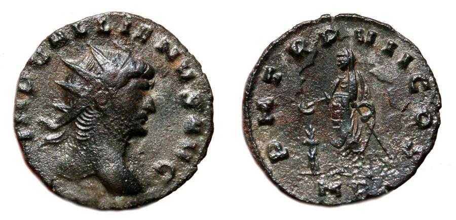Ancient Coins - GALLIENUS AE Antoninianus. VF+/EF-. Mediolanum mint. P M TR P VII COS - Emperor. Scarce Issue.