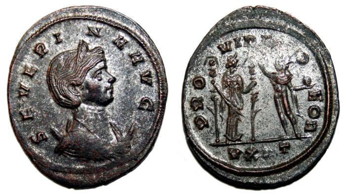 Ancient Coins - SEVERINA AR Antoninianus. VF+. SILVERED. Ticinum mint. PROVIDEN DEOR.