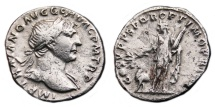 Ancient Coins - TRAJAN AR Denarius. VF. Arabia - COS V. Scarce and Nice.