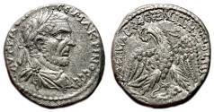 Ancient Coins - MACRINUS AR Tetradracm. Heliopolis (Syria). VF+. Lion advancing right.