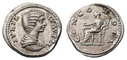 Ancient Coins - JULIA DOMNA AR Denarius. EF-. Laodikea mint. CONCORDIA. Scarce and Precious!