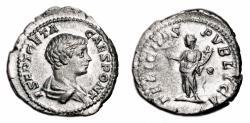 Ancient Coins - GETA AR Denarius. EF-/VF+. FELICITAS PVBLICA.
