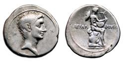 Ancient Coins - AUGUSTUS (as OCTAVIAN) AR Denarius. VF+/VF. Apollo - CAESAR DIVI F. Rare!