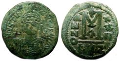 Ancient Coins - JUSTINIAN I AE Follis. VF+/EF-. Cyzicus mint, year 22 (AD 549/550). Large M.