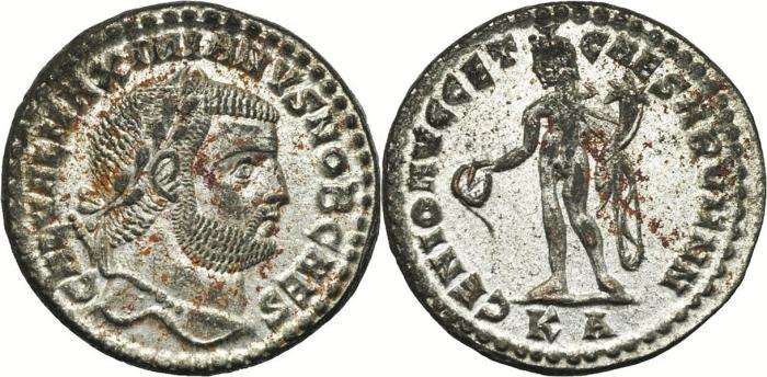 Ancient Coins - GALERIUS MAXIMIANUS Bi Follis. EF+/EF-. Cyzicus mint. GENIO AVGG ET CAESARVM NN. Fully SILVERED!!!
