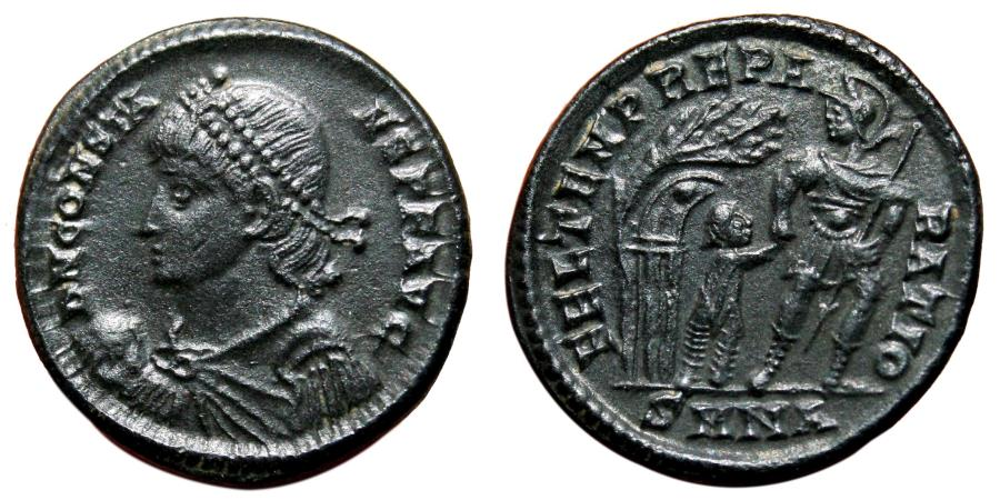 Ancient Coins - CONSTANS AE2 (Maiorina). EF/EF+. Nicomedia mint. Soldier and young Barbarian.