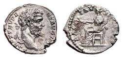 Ancient Coins - SEPTIMIUS SEVERUS AR Denarius. EF. Very early issue. PACI AVGVSTI - Pax seated.