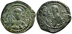 Ancient Coins - Anonymous (attributed to Romanus IV) Follis. VF+. Constantinople. Christ and Virgin Mary.