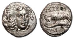 Ancient Coins - ISTROS AR Drachm. EF-. Eagle over Dolphin to right. Letters ΔI - I. Scarce Variant.