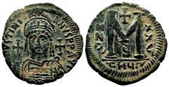 Ancient Coins - JUSTINIAN I AE Follis. EF/EF-. Antioch mint (as Theopolis). Year 26.