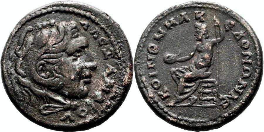 Ancient Coins - MACEDON, Koinon AE26. Time of Severus Alexander. EF-. Alexander - Zeus.