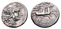 Ancient Coins - P. Calpurnius Lanarius AR Denarius. EF-. Head of Roma - Venus in biga.