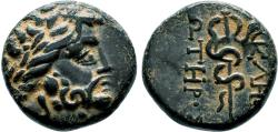 Ancient Coins - PERGAMON AE15. EF. Asclepios - Snake. The Origins of Medicine.
