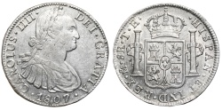 World Coins - SPAIN CHARLES IV AR 8 Reales. EF-/EF. MEXICO Mint. 1807