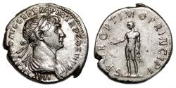 Ancient Coins - TRAJAN AR Denarius. EF/EF-. Genius - SPQR OPTIMO PRINCIPI.