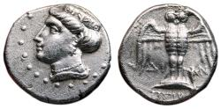 Ancient Coins - AMISOS (as Peiraieos) AR Drachm. EF/VF+. Hera - Owl over shield.