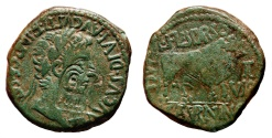 Ancient Coins - TIBERIUS AE As. EF/EF-. Superb Head of Eagle Countermark. VERY INTERESTING!