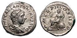 Ancient Coins - ELAGABALUS AR Antoninianus. EF-/EF. Rome seated.