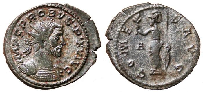 Ancient Coins - PROBUS Bi Antoninianus. VF+. Partially SILVERED. Lugdunum mint. COMES AVG. Scarce Variant.