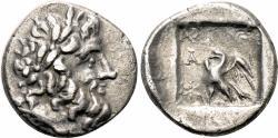 Ancient Coins - STRATONIKEIA (Caria) AR Hemidrachm. VF+. Zeus - Eagle. Magistrate Charimon.
