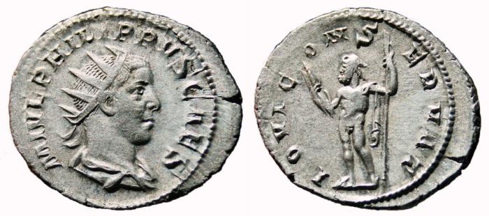 Ancient Coins - PHILIP II AR Antoninianus. EF-. IOVI CONSERVAT. Scarce reverse.