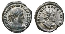 Ancient Coins - CONSTANTINE I Bi Follis. EF-. Partially SILVERED. Treveri mint. SOLI INVICTO COMITI - Bust of Sol. SCARCE and SUPERB!