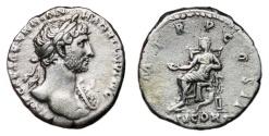 Ancient Coins - HADRIAN AR Denarius. VF+. Heroic bust. CONCORD. Uncommon issue.