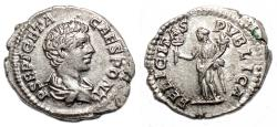Ancient Coins - GETA AR Denarius. EF. FELICITAS PVBLICA