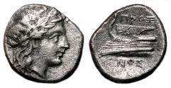 Ancient Coins - KIOS (Bithynia) AR Hemidrachm. VF+/EF-. Apollo - Prow of Galley.