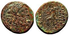 Ancient Coins - ANTIOCH (Syria) AE25 (Tetrachalkon). EF-/VF+. Zeus. Dated Year 19.