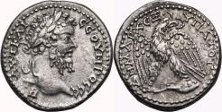 Ancient Coins - SEPTIMIUS SEVERUS AR Tetradrachm. EF-/EF. Antioch mint. Eagle-Sacrifical leg. SCARCE and EXCELLENT!