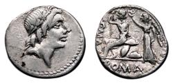Ancient Coins - C. Poblicius Malleolus AR Denarius. EF-. Apollo - Roma seated and Victory.