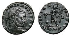 Ancient Coins - GALERIUS MAXIMIANUS AE Follis. EF-. Thessalonica mint. GENIO AVGVSTI