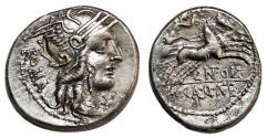 Ancient Coins - Cn. Fulvius, M. Calidius and Q. Metellus AR Denarius. EF/EF-. Victory in biga.