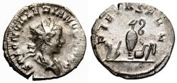 Ancient Coins - SALONINUS AR Antoninianus. EF-. Colonia Agrippina mint. PIETAS - Sacrificial implements.