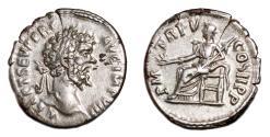 Ancient Coins - SEPTIMIUS SEVERUS AR Denarius. EF/EF-. Pax seated - P M TR P V COS II P P.