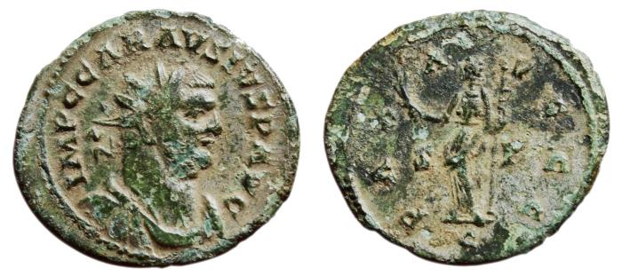 Ancient Coins - CARAUSIUS Bi Antoninianus. VF. PAX AVGGG (Struck in the name of the three emperors). RARE!