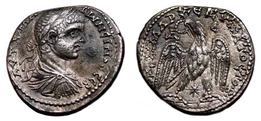 Ancient Coins - ELAGABALUS AR Tetradrachm. EF-/EF. Emesa mint. Draped and Cuirassed bust. VERY SCARCE!