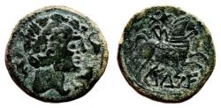Ancient Coins - CELTIC AE As. VF+/EF-. Horseman with palm to right. Circa 110 b.C.