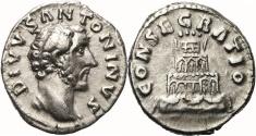 Ancient Coins - ANTONINUS PIUS AR Denarius. EF-. Funeral Pyre - CONSECRATIO. Very nice.