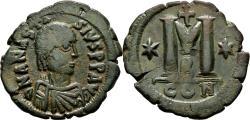 Ancient Coins - ANASTASIUS I AE Follis. EF-. Constantinopolis mint. 2nd Officina.