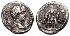 Ancient Coins - CARACALLA AR Drachm. Caesarea of Cappadocia. VF+. Year 17. Mount Argaeus.
