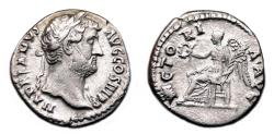 Ancient Coins - HADRIAN AR Denarius. EF-. Victory seated - COS III